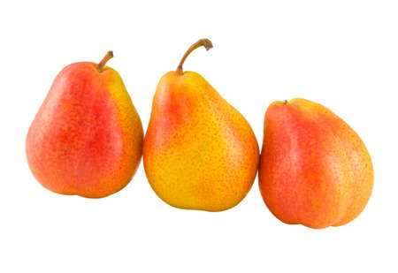 three full pears isolated on white background photo