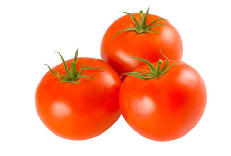 three full tomatoes isolated on white background photo