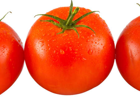 tomato with water drops isolated on white background photo