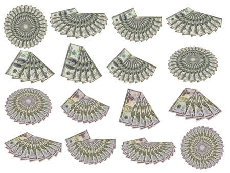 set from US money isolated on a white background