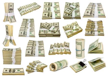 set from UD dollars bundle isolated on white Stock Photo