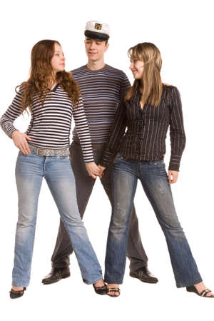 three young friends isolated on a white background photo