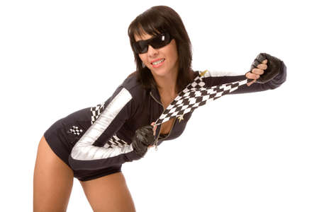pretty woman dressed as racing fun with chequered flag photo
