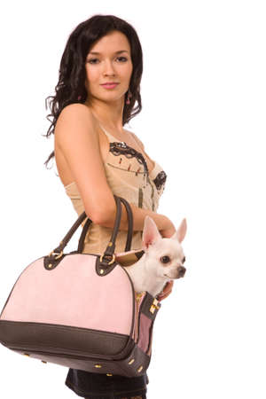 young woman with doggy on a white background photo