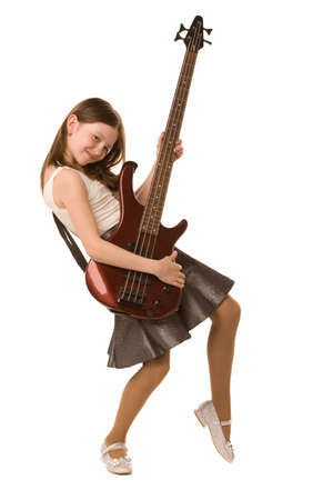 girl with electric guitar isolated on a white background Stock Photo