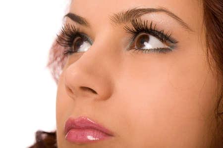 bloodshot: female wide open eyes with long eyelashes macro Stock Photo