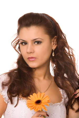 close-up portrait of young woman with flower on a white background photo