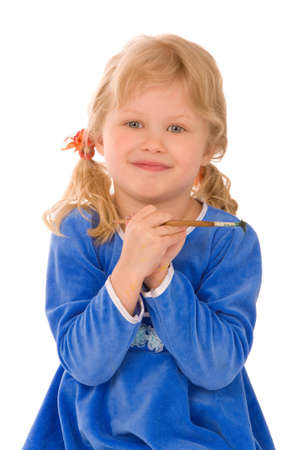 small girl with brush on a white background photo