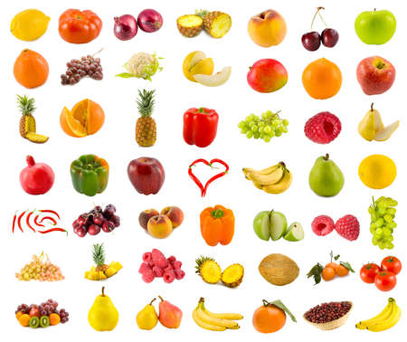 set from 49 various fruits, vegetables and berries Stock Photo