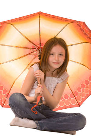 girl with umbrella isolated on a white background photo