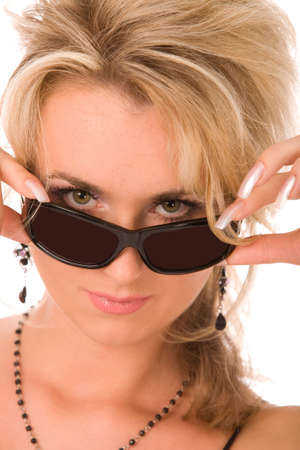 close-up portrait of blond woman with sunglasses photo