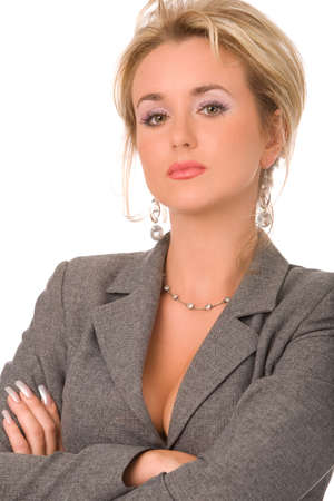 portrait of severe businesswoman on a white background