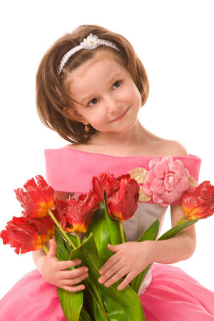 girl with artificial tulips on a white background photo