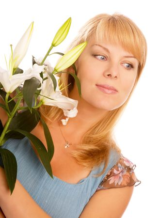 blond woman with madonna lily on a white background photo