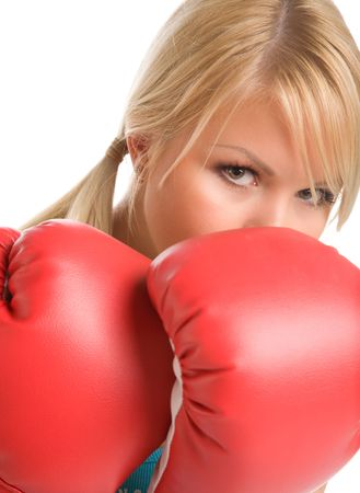 girl with red boxing gloves on a white background Stock Photo - 3249681