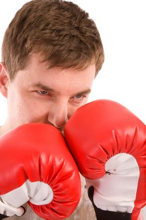 man with red boxing gloves on a white background photo