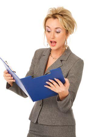 amazed secretary with folders isolated on white photo