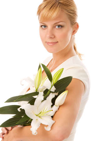young blond woman with madonna lily on white background photo