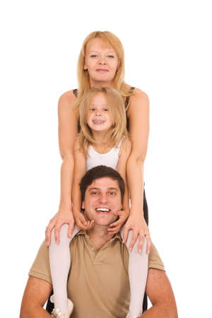 young happy family isolated on a white background photo