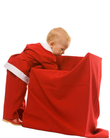 little boy dressed as Santa Claus on a white background Stock Photo - 3557709