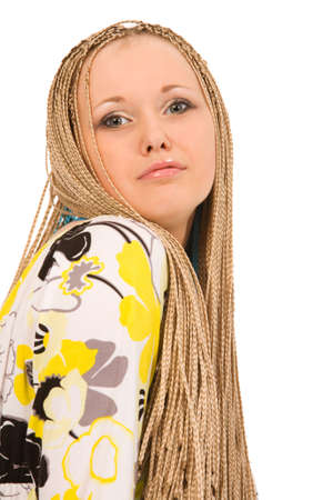 blond woman with the braids on a white background Stock Photo - 3573606