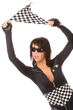 pretty woman dressed as racing fun with chequered flag Stock Photo