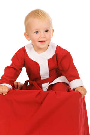 little boy dressed as Santa Claus on a white background Stock Photo - 3606276