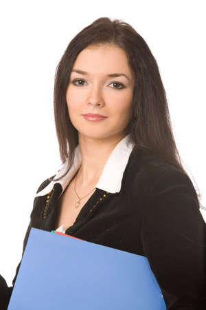 young businesswoman with documents on white background photo