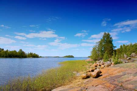 islets: lake with islets, summer, Vuoksa lake, Russia Stock Photo