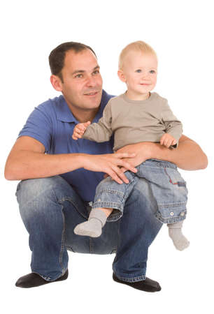 father with son isolated on a white background photo