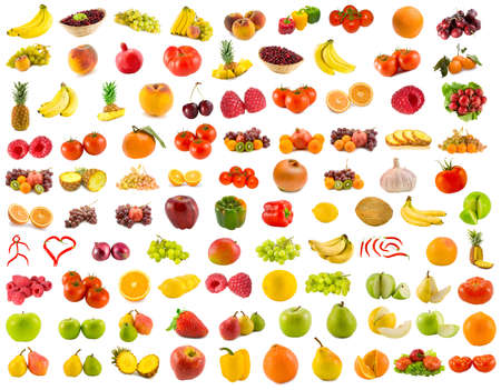 set from 96 various fruits, vegetables and berries photo