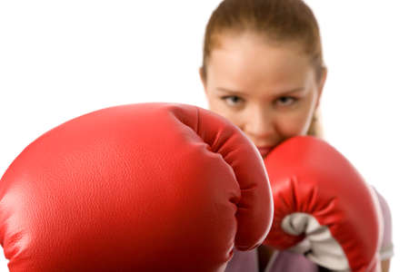woman boxing gloves: girl with red boxing gloves on a white background
