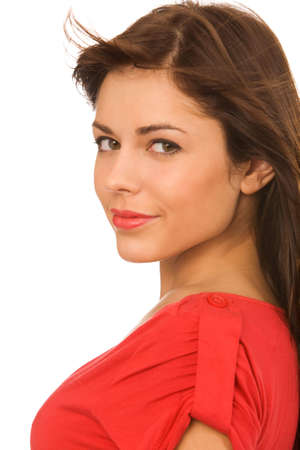closeup portrait of pretty woman on a white background Stock Photo
