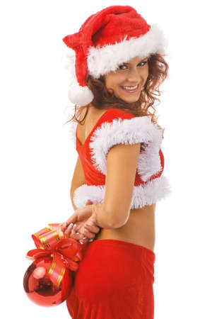 sexy woman dressed as Santa Claus, isolated, white background Stock Photo - 3736701