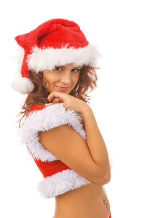 sexy woman dressed as Santa Claus, isolated, white background