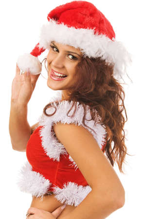 sexy woman dressed as Santa Claus, isolated, white background Stock Photo - 3736710