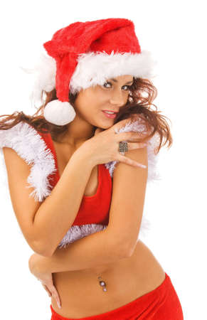 sexy woman dressed as Santa Claus, isolated, white background photo