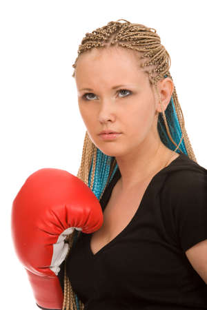 woman with red boxing gloves on a white background photo