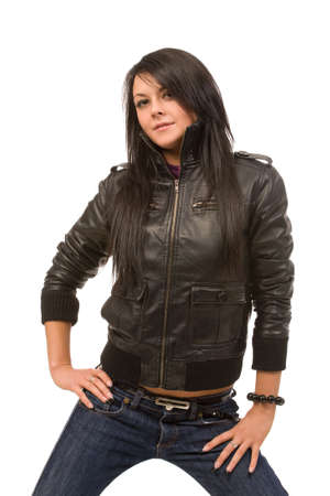 brunette woman in black leather jacket isolated Stock Photo - 3825243