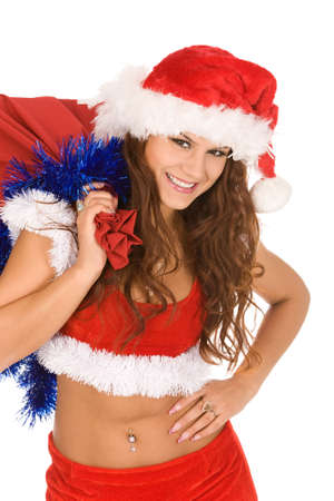 pretty woman dressed as Santa Claus with sack of presents photo