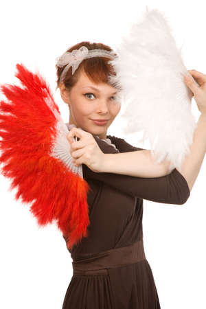 woman with fans on a white background photo