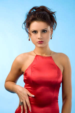 beautiful sexy woman in red dress on a white background Stock Photo - 3931563