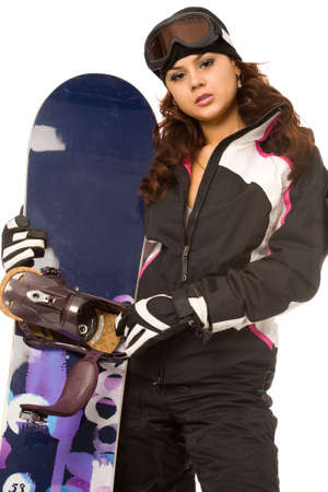 sexy woman with snowboard on a white background photo
