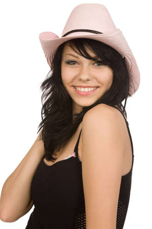 pink hat: beautiful woman in pink hat on a white background