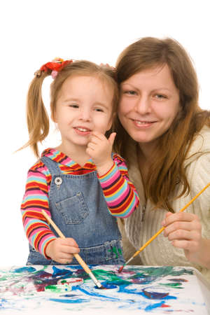 Mother and the daughter draw Stock Photo - 3967558
