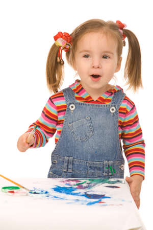 small girl paint on a white background photo
