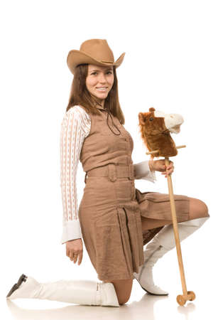 woman in brown hat on a white background photo