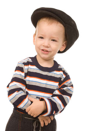 peaked: portrait of the small boy in large peaked cap