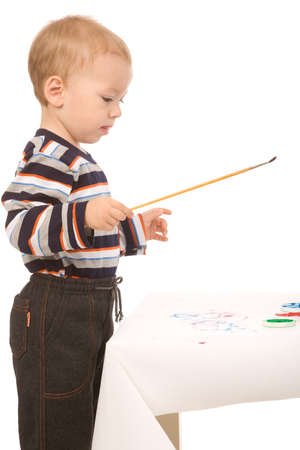 small boy paint on a white background Stock Photo - 4054228