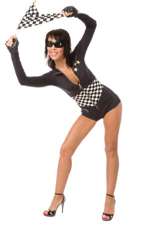 racing flag: pretty woman dressed as racing fun with chequered flag Stock Photo